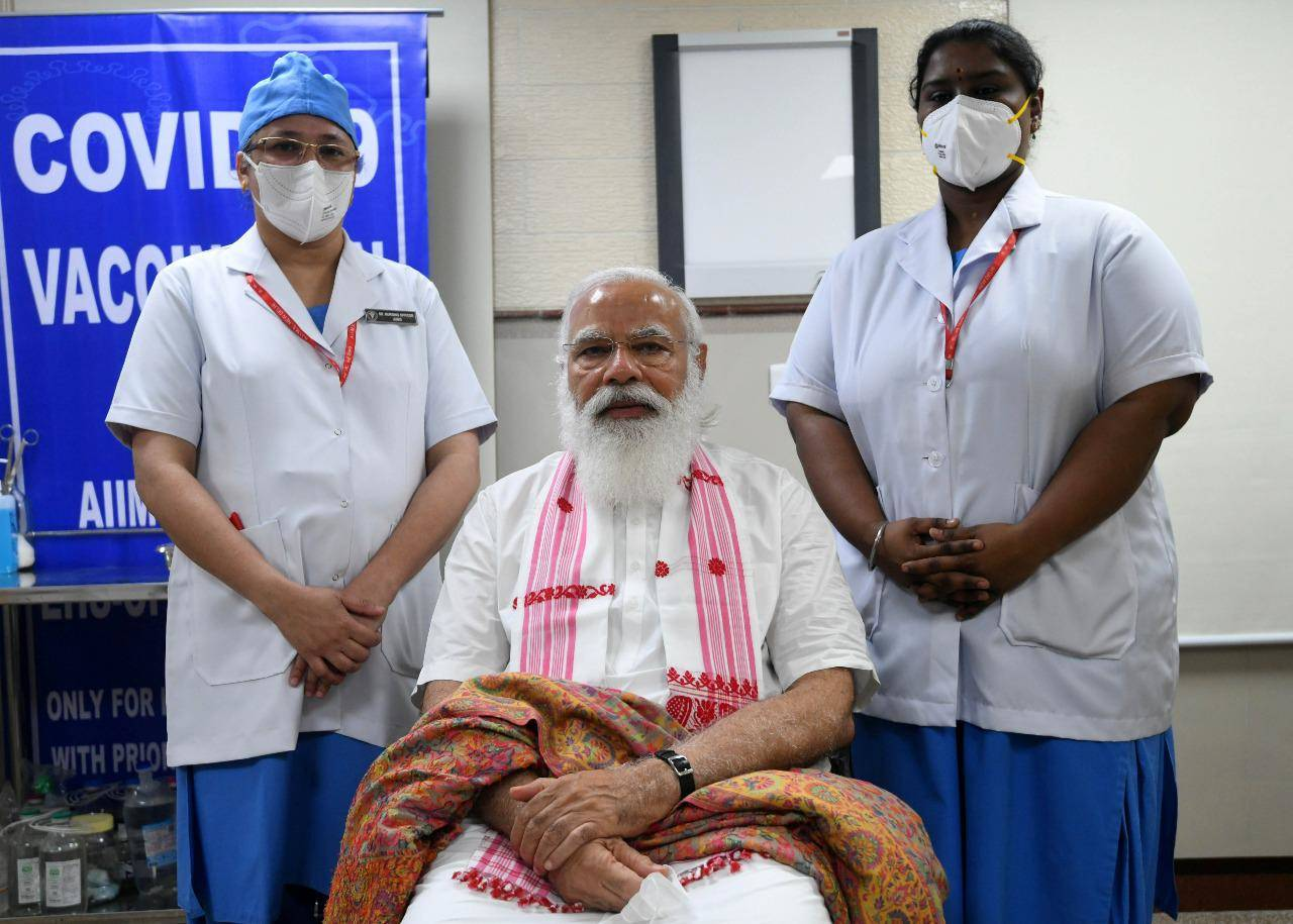 PM Modi compliments nurses after taking first dose of Covid-19 vaccine
